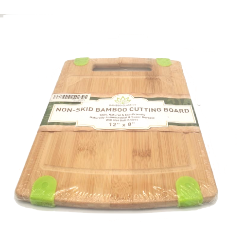 12x8 Non Stick Bamboo Cutting Board With Green Silicon Edges