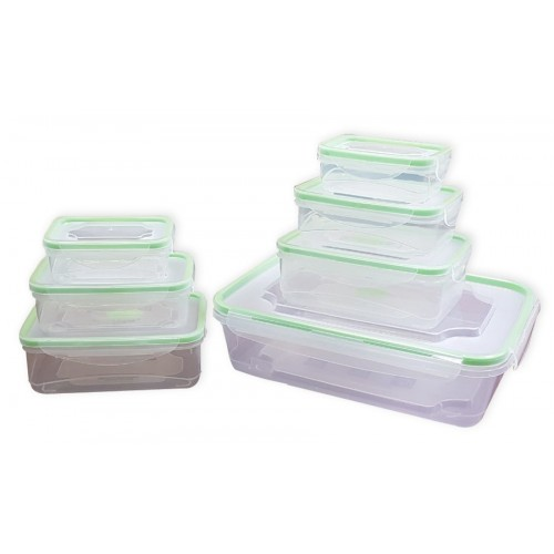 7 piece locking containers green