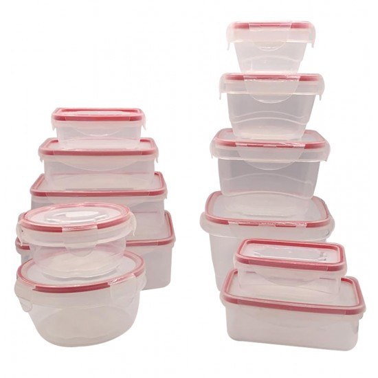 24PC Food Storage With Locking Red Lids