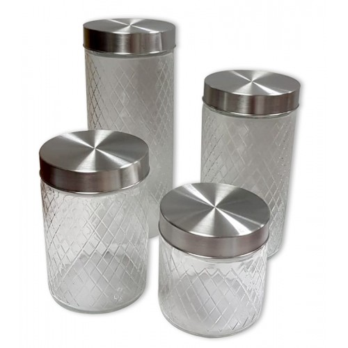 4 piece glass consisted set embossed