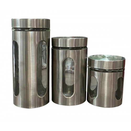 3PC S/S CANISTER SET