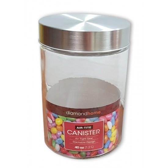 1.2l glass canister round