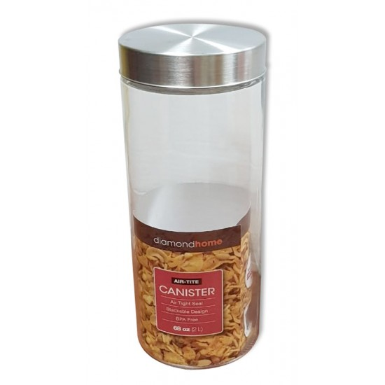 2l round glass canister