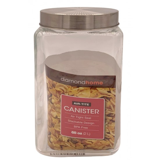 2L Glass Canister Square