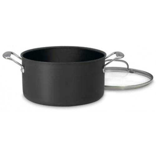 Chef's Classic Nonstick Hard-Anodized 6-Quart Stockpot with Lid,Black