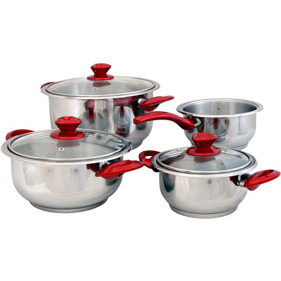 7 Piece Cookware Red
