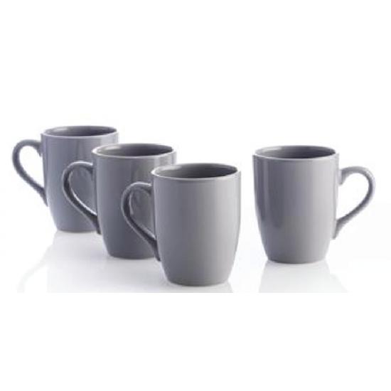 4 Piece Mugs Grey