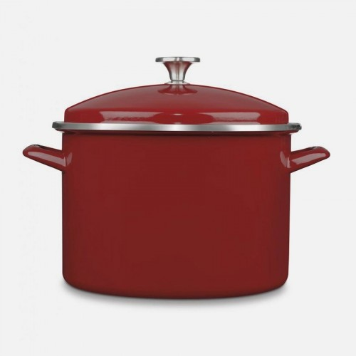 Chef's Classic Enamel Stockpot with Cover, 10-Quart, Red