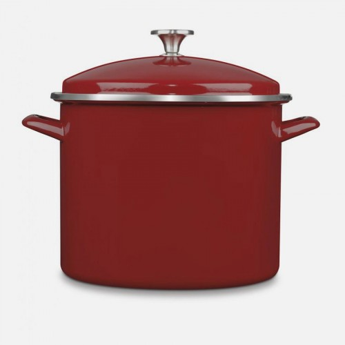 CHEF CLASSIC ENAMEL ON STEEL COOKWARE 12 QUART STOCKPOT WITH COVER RED