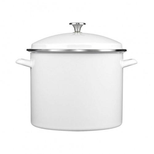 Enamel Stockpot with Cover, 16-Quart, White
