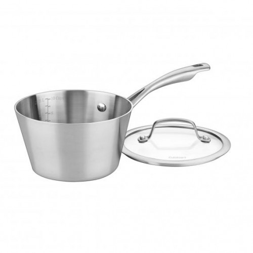 3 QUART MULTICLAD CONICAL TRI-PLY SAUCEPAN WITH COVER