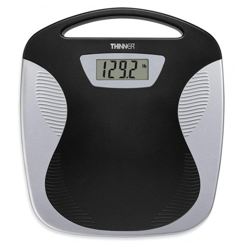 Digital Precision LED Portable Bathroom Scale, Black/Silver