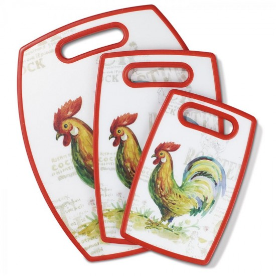 3 PIECE CUTTING BOARD ROOSTER SET