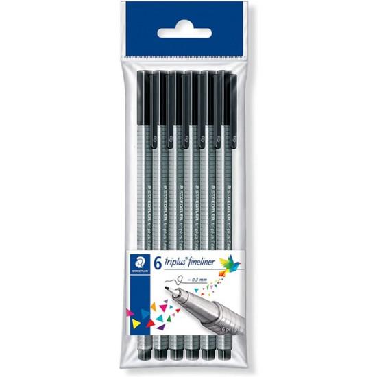 Black fineliner pens