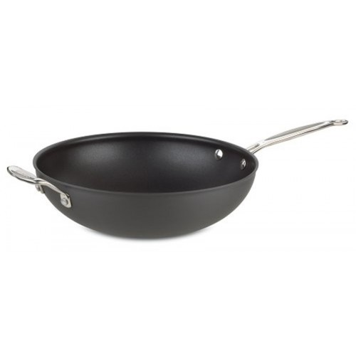 Chef's Classic Nonstick Hard-Anodized 12-1/2-Inch Stir Fry with Helper Handle and Cover Stainless Steel