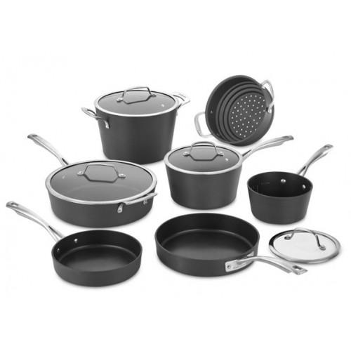 Conical Hard Anodized Cookware Set, Medium, Black