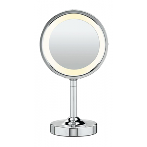 Double-Sided Lighted Round Mirror