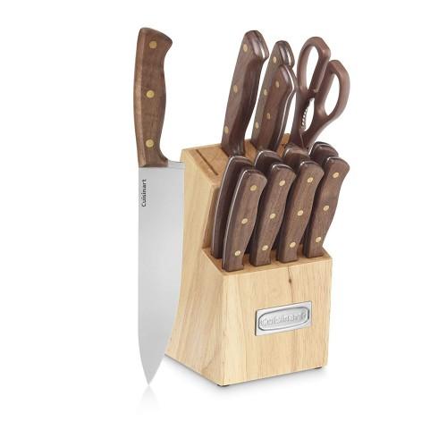 Advantage Cutlery 14-Piece Triple Rivet Walnut Knife Block Set