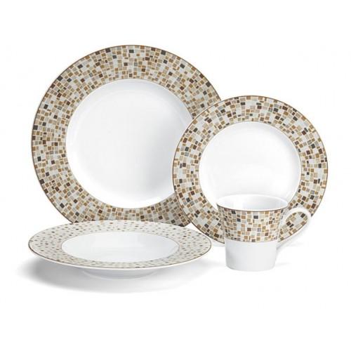 Aleria Brown Collection 16-Piece Porcelain Dinnerware Set