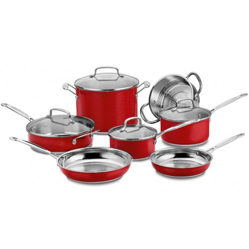 11-Piece Classic Cookware Set, Red