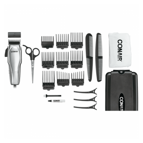 Custom Cut 21-piece Haircut Kit; Home Hair Cutting Kit; Chrome